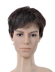 Short Straight Brown Side Bang Men Hair Wig