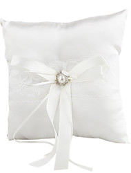 Lovely Rhinestone Decoration Smooth Satin Wedding Ring Pillow