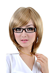 Capless Medium Length Synthetic Light Blonde Straight Hair Wig