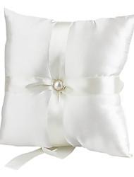 belle décoration perle oreiller en satin lisse anneau de mariage (0802-whc008)