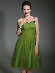 folga! tule tafetá uma linha-namorada vestido de cocktail do joelho-comprimento inspirada por Sarah Jessica Parker em Sex and the City