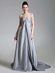 Formal Evening Dress - Silver Plus Sizes / Petite A-line / Princess Strapless / Sweetheart Court Train Taffeta