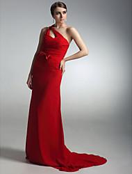 folga! bainha / coluna de um ombro varrer vestido de noite trem chiffon cetim inspirada por natalie marca no Globo de Ouro