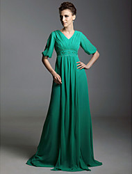 Formal Evening/Military Ball Dress - Jade Plus Sizes A-line V-neck Sweep/Brush Train Chiffon