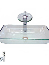 Victory Rectangular Transparent Tempered glass Vessel Sink With Waterfall Faucet, Mounting Ring and Water Drain(0917-VT4051)