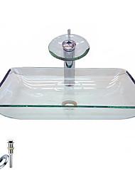 Прямоугольная раковина, из закаленного стекла, с краном в виде водопада, монтажные кольца и канализация