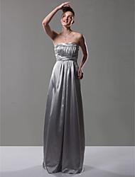 Freiraum! Reich trägerlosen bodenlange charmeuse Brautjungfer Kleid