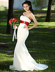 Mermaid / Trumpet Strapless Sweep / Brush Train Satin Wedding Dress with Crystal Floral Pin Draped Ruche by LAN TING BRIDE®