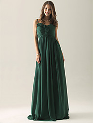 Empire A-line Spaghetti Straps Floor-length Chiffon Over Elastic Satin Bridesmaid/ Wedding Party Dress