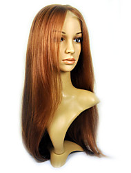 Hand Tied Style Lace Front Long High Quality Synthetic Golden Brown Straight Hair Wig