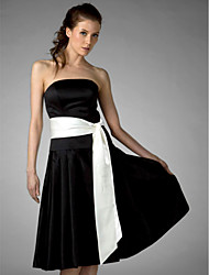 Lanting Bride Knee-length Satin Bridesmaid Dress A-line / Princess Strapless Plus Size / Petite with Sash / Ribbon