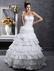 Lanting A-line Strapless Floor-length Taffeta Tulle Wedding Dress