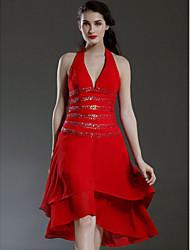 Freiraum! a-line Halfter asymmetrische Chiffon über elastischen Satin Brautjungfer / Hochzeit Kleid