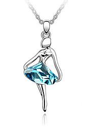 blu di cristallo lucente e platinato ragazza ballerina lega pendente a forma di collana