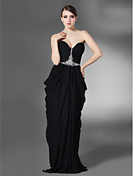 Formal Evening/Military Ball Dress - Black Plus Sizes Sheath/Column Strapless/Sweetheart Floor-length Chiffon