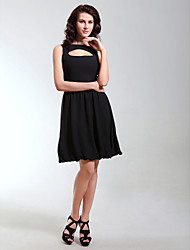 TS Couture® Cocktail Party / Holiday Dress - Little Black Dress Plus Size / Petite A-line / Princess Bateau Knee-length Chiffon with Draping