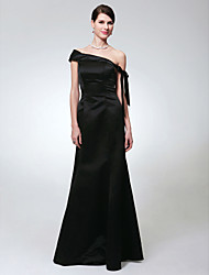 Mermaid / Trumpet One Shoulder Floor Length Satin Formal Evening Military Ball Dress with Bow(s) by TS Couture®