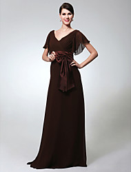 TS Couture® Formal Evening / Military Ball Dress - Elegant Plus Size / Petite Sheath / Column V-neck Floor-length Chiffon with Bow(s) / Sash / Ribbon