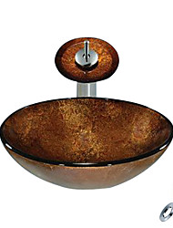 Brown Round Tempered glass Vessel Sink With Waterfall Faucet, Mounting Ring and Water Drain(0888-C-BLY-6142-WF)