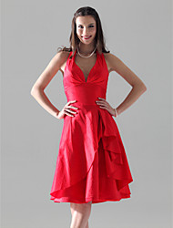 A-Line Princess Halter V-neck Knee Length Taffeta Bridesmaid Dress with Side Draping Ruffles by LAN TING BRIDE®