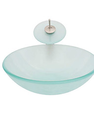 Transparence Round Tempered glass Vessel Sink With Waterfall Faucet, Mounting Ring and Water Drain(0917-VT4067)