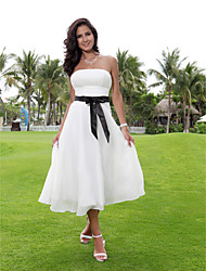 Lanting A-line Plus Sizes / Petite Wedding Dress - Ivory Tea-length Strapless Chiffon