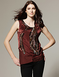 TS Handmade Beaded Design Sleeveless Blouse Shirt