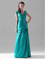 Lanting Bride Floor-length Satin Bridesmaid Dress Trumpet / Mermaid V-neck Plus Size / Petite with Flower(s) / Side Draping / Ruching