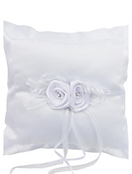 Elegance Smooth Satin Decorated With Flowers Wedding Ring Pillow