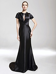 Formal Evening / Military Ball Dress - Black Plus Sizes / Petite Trumpet/Mermaid V-neck / High Neck Sweep/Brush Train Charmeuse