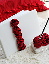 Bold Red Luxury Rose Lined Wedding Guest Book and Pen Set Sign In Book