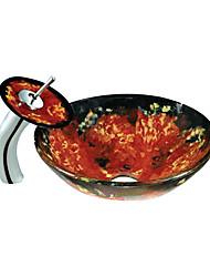 rouge et noir évier rond récipient en verre trempé avec robinet cascade (0888-c-blée-6425-wf)