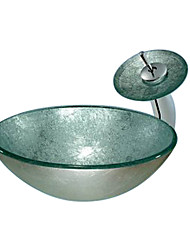 Bronze Round Tempered glass Vessel Sink With Waterfall Faucet(0888-C-BLY-6552-WF)