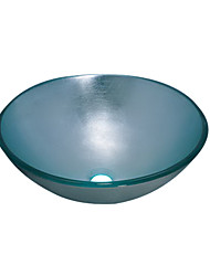 Blue Round Tempered glass Vessel Sink(0888-BLY-6469)