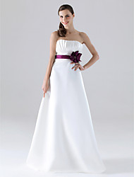 Floor-length Satin Bridesmaid Dress - White Plus Sizes / Petite A-line / Princess Strapless