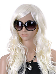 Capless Long Top Grade Quality Synthetic White Curly Hair Wig