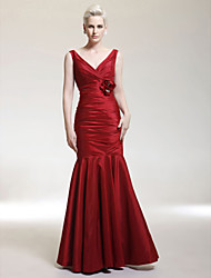 Mermaid / Trumpet V-neck Straps Floor Length Taffeta Evening Dress with Flower by TS Couture®