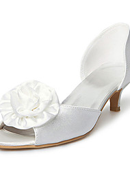 Satin Upper Kitten Heel  Peep Toe With Satin Flower Wedding Bridal Shoes