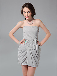 TS Couture® Cocktail Party / Graduation / Holiday / Wedding Party Dress - Silver Plus Sizes / Petite Sheath/Column Strapless Short/Mini Chiffon