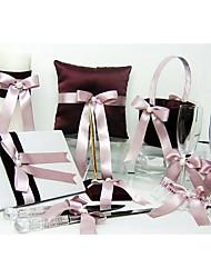 coleção do casamento cintilante ouro definido em cetim de chocolate com fita e pérola (8 peças)