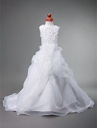 Lanting Bride Ball Gown Court Train Flower Girl Dress - Organza / Satin Sleeveless Jewel with Beading / Flower(s) / Pick Up Skirt