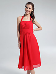 Lanting Bride® Knee-length Chiffon Bridesmaid Dress - A-line Halter Plus Size / Petite with Draping