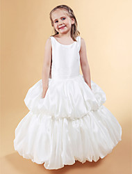 Ball Gown Jewel Floor-length Taffeta Flower Girl Dress
