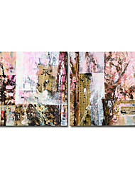 Hand-painted Abstract Oil Painting with Stretched Frame - Set of 2