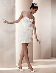 Lanting Sheath/ Column Sweetheart Short/ Mini Satin Wedding Dress