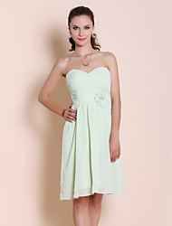 Homecoming Bridesmaid Dress Knee Length Chiffon Sheath Column Sweetheart Party Dress