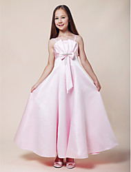 Floor-length Stretch Satin Junior Bridesmaid Dress A-line / Princess Spaghetti Straps Empire with Beading / Bow(s)