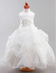 Ball Gown Floor-length Flower Girl Dress - Organza Satin Jewel with Appliques Pick Up Skirt Sash / Ribbon