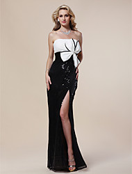 Formal Evening/Military Ball Dress Sheath/Column Strapless Floor-length Sequined