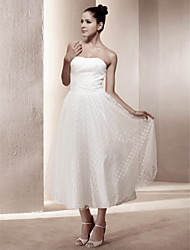 Lanting A-line Strapless Tea-length Satin Wedding Dress